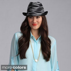 Swan Hat Women's Fedora Solid/Metallic Ribbon Packable Hat