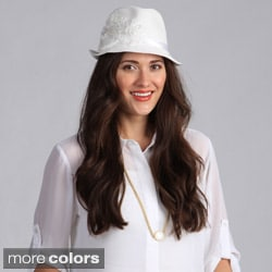 Swan Hat Women's Straw Ribbon Flower Detail Fedora
