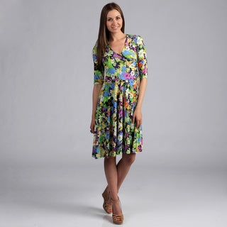 24/7 Comfort Apparel Women's Floral Print Mid-Length Dress