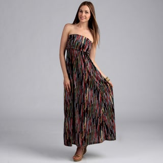 24/7 Comfort Apparel Women's Printed Maxi Tube Dress