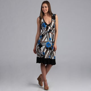 24/7 Comfort Apparel Women's Faux Wrap Print Dress