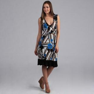 24/7 Comfort Apparel Women's Faux Wrap Print Dress