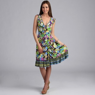 24/7 Comfort Apparel Women's Floral Print Faux Wrap Dress