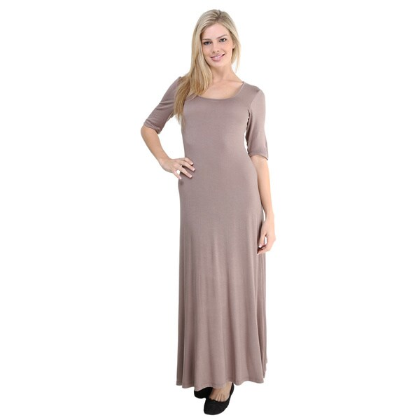24/7 Comfort Apparel Women's Elbow Sleeve Maxi Dress