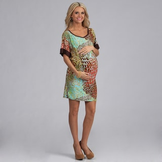 24/7 Comfort Apparel Women's Maternity Printed Dolman Dress