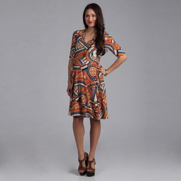 24/7 Comfort Apparel Faux-Wrap Mid-Length Maternity Dress