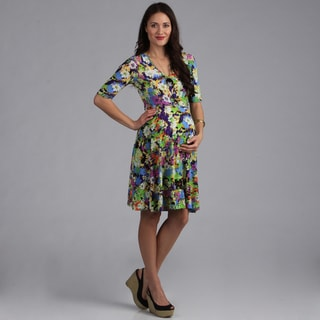 24-7 Comfort Apparel Faux Wrap Maternity Dress