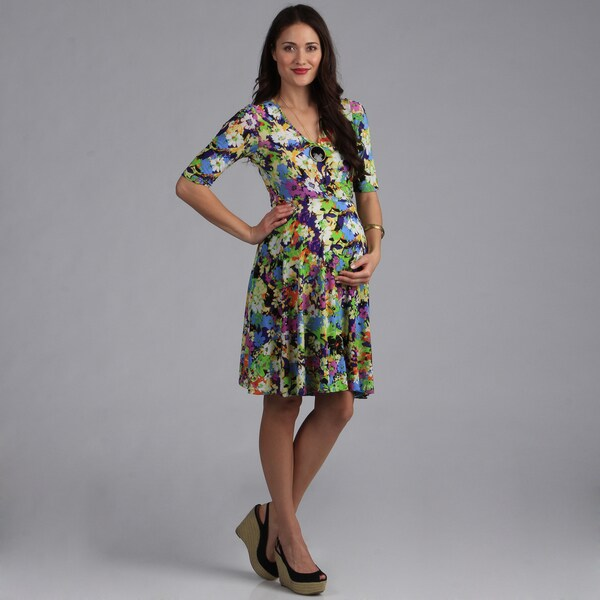 24/7 Comfort Apparel Faux Wrap Maternity Dress