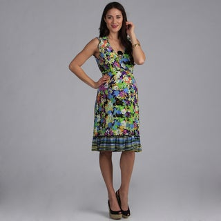 24-7 Comfort Apparel Maternity Cap Sleeve Faux Wrap Dress