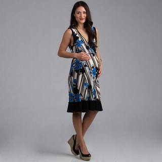 24-7 Comfort Apparel Maternity Faux Print Wrap Dress
