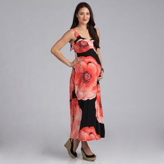 24-7 Comfort Apparel Maternity Print Maxi Sun Dress