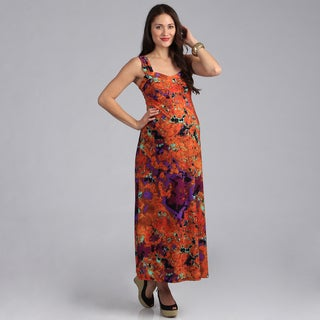 24-7 Comfort Apparel Sleeveless Maternity Maxi Sun Dress