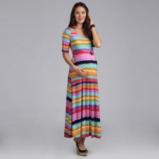 24-7 Comfort Apparel Maternity Scoop Neck Maxi Dress