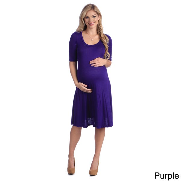 24/7 Comfort Apparel Rayon/Spandex Maternity Basic Dress
