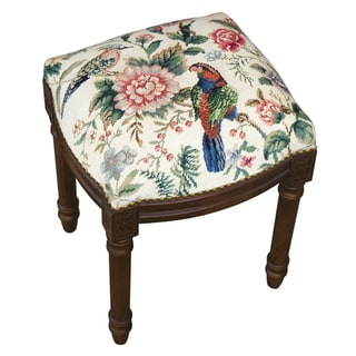 Canton Garden-Cream Needlepoint Stool