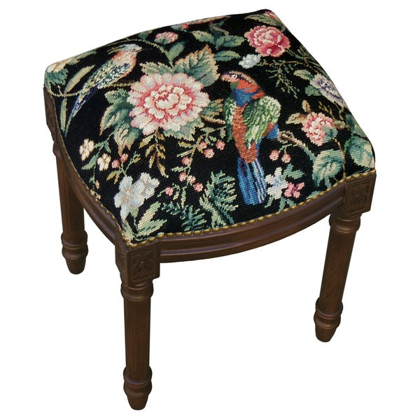 Canton Garden-Black Needlepoint Stool