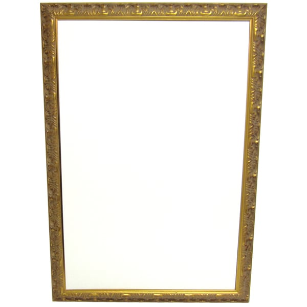 Calis Grand Etched Gold 2.5-inch Wood Frame Wall Mirror