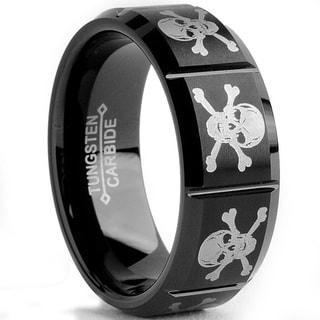 Tungsten Carbide Black-plated Laser-etched Skull Design Ring (8 mm)