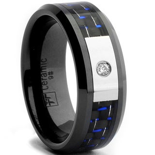Oliveti Black Ceramic Men's CZ Black and Blue Carbon Fiber Inlay Ring (8 mm)