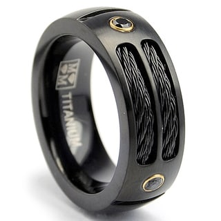 Oliveti Black-plated Titanium Men's Steel Cable and Black CZ Band (8 mm)
