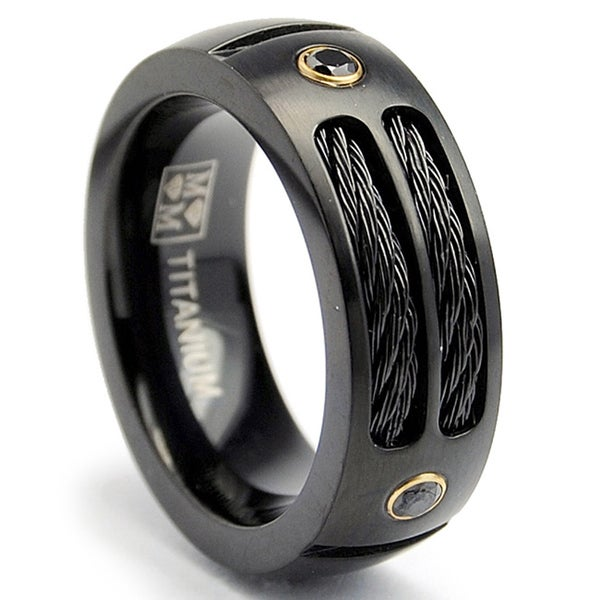 Oliveti Black Plated Titanium Men39;s Steel Cable and Black CZ Band 8