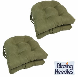 Blazing Needles Earthy 16-inch U-shaped Microsuede Dining Chair Cushions (Set of 4)