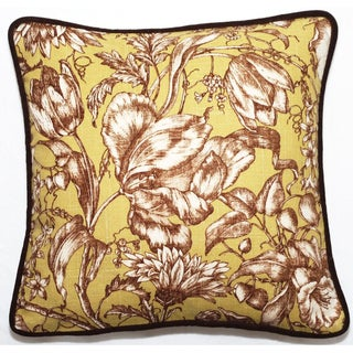 Green Floral 18-inch Throw Pillow