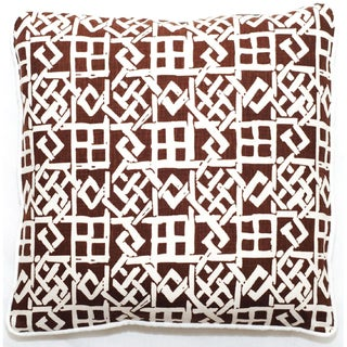 Brown/ White Lattice Design 18-inch Throw Pillow