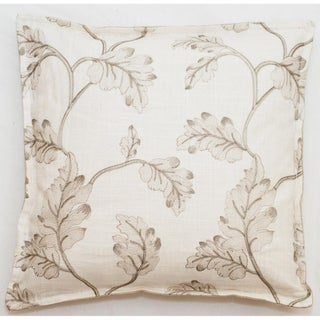 Embroidered Leaves 18-inch Throw Pillow