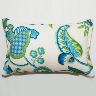 Decor Rectangular Blue/ Green Floral Outdoor Living Throw Pillow
