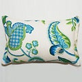 Decor Rectangular Blue/ Green Floral Outdoor Living Throw Pillow