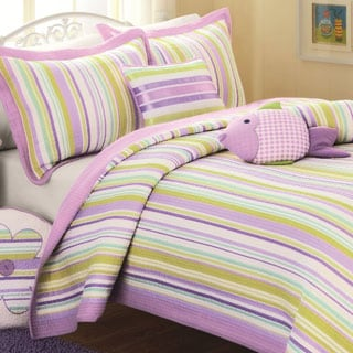 Purple Stripe 3-piece Quilt Set