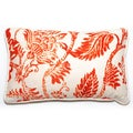 Decor Rectangular Orange Floral Throw Pillow