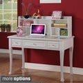 Jeslyn Solid Pine White Finish Desk with Optional Hutch