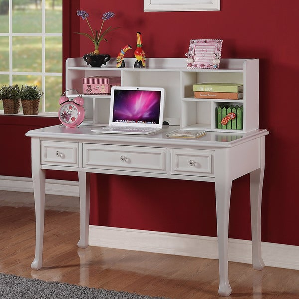 Picket House Jeslyn Solid Pine White Finish Desk with Optional Hutch