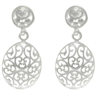 CGC Sterling Silver Scroll Oval Drop Earrings