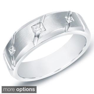 Auriya 14k Gold Men's 3/8ct TDW Princess Diamond Satin Ring (H-I, SI1-SI2)