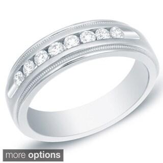 Auriya 14k Gold Men's 1/2ct TDW Diamond Milligrain Ring (H-I, SI1-SI2)