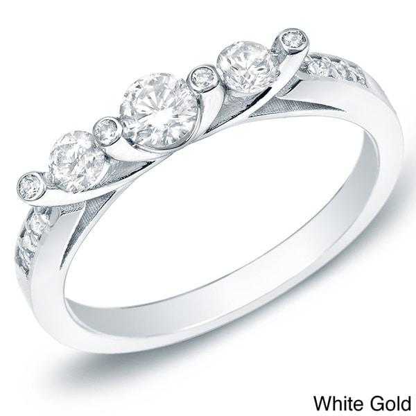 Auriya 14k White or Yellow Gold 1/2ct TDW Diamond 3-stone Ring (H-I, SI1-SI2)