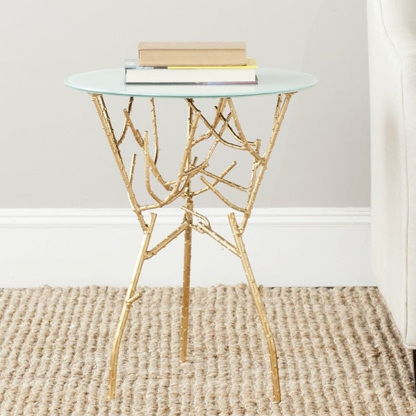 Safavieh Treasures Tara Gold/ Blue-white Top Accent Table