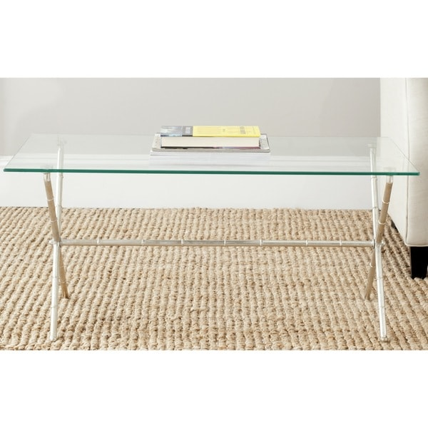 Safavieh Treasures Brogen Bronze-ish Silver/ Glass Top Accent Table