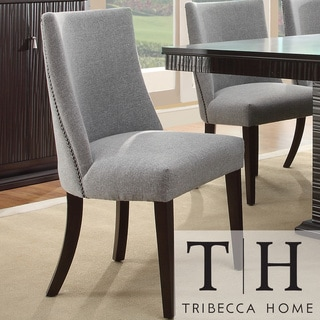Tribecca Home Dominic Grey Curved Nailhead Upholstered Dining Chair (Set of 2)