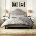 TRIBECCA HOME Esmeral Grey Linen Nail Head Arch Curved Upholstered Bed