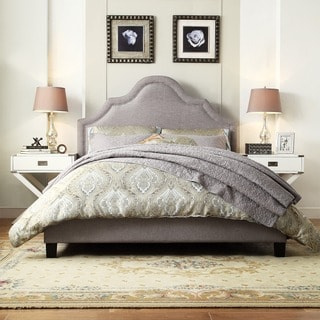 TRIBECCA HOME Esmeral Beige Linen Nailhead Arch Curved Upholstered Bed