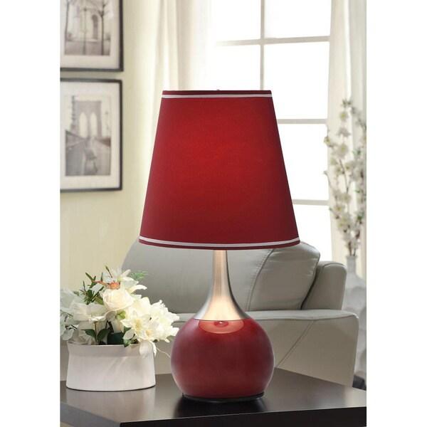 Tribecca Home Elisha Contempo Burgundy Teardrop Touch Table Lamp