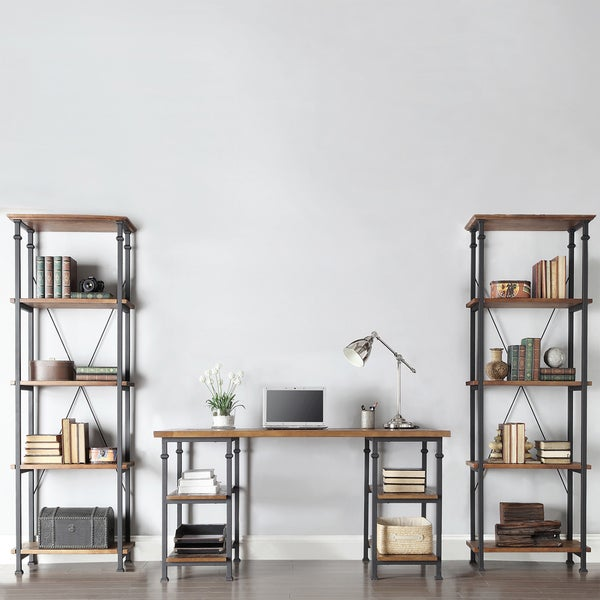 TRIBECCA HOME Myra Vintage Industrial Modern Rustic 3-piece Desk Bookcase Set