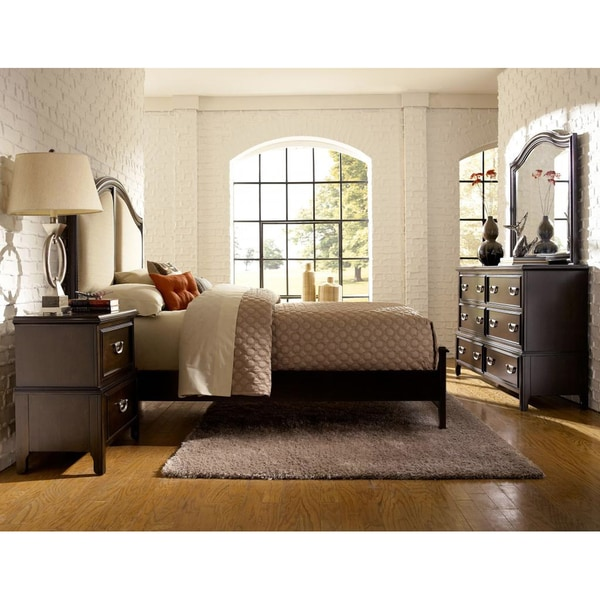 isabel dark cherry brown transitional 4 piece king size bedroom set