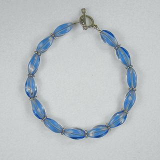 Sapphire Blue Twisted Glass And Pewter Bracelet