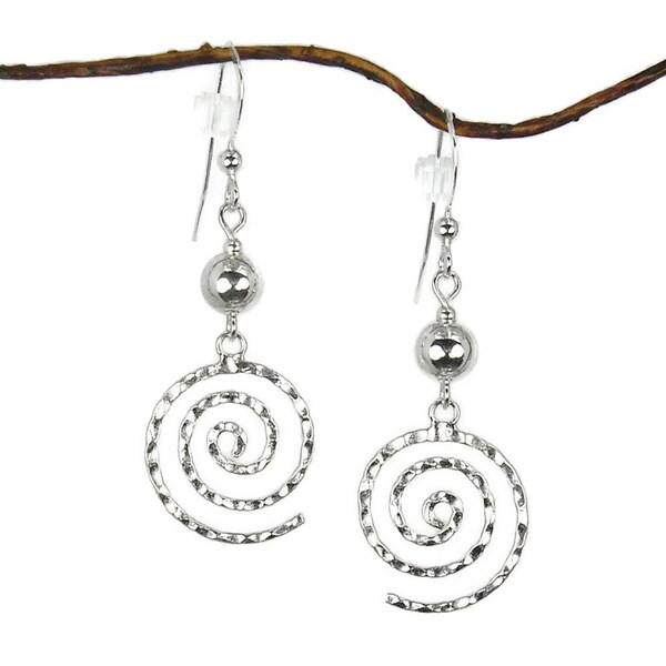 Jewelry by Dawn Sterling Bead With Hammered Swirl Sterling Silver Earrings