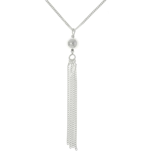 CGC Sterling Silver Ball and Tassel Necklace